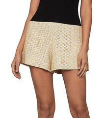 high-waisted tweed shorts