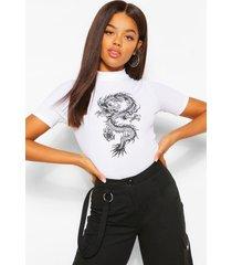 dragon print ribbed high neck top, white