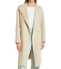 women's vince patch pocket belted wool blend coat, size x-small - beige