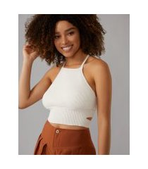 amaro feminino regata cropped cut out tricot, pérola