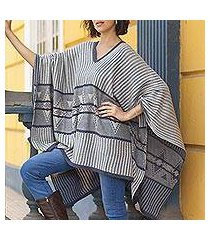 cotton blend poncho, 'memories past in blue' (peru)