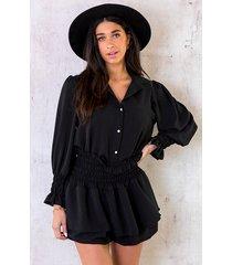 knopen blouse dames zwart