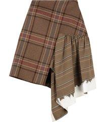 lanvin checked asymmetric skirt