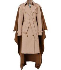 burberry blanket detail cotton gabardine trench coat - neutrals