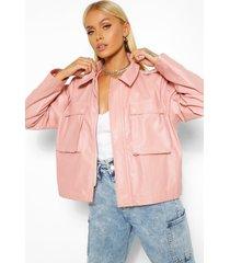 boxy pocket detail oversized pu jacket, dusky pink