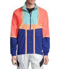 puma men's court side colorblock track jacket - blue multi - size l