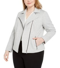 bar iii trendy plus size ponte-knit moto jacket