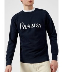 maison kitsuné men's parisien sweatshirt - navy - xl - navy