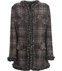 dolce & gabbana frayed edge woven checked top