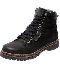 bota coturno em couro mega boots 6016 preto - preto - masculino - dafiti