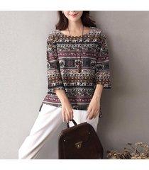 zanzea otoño las mujeres de boho floral o cuello 3/4 de la manga de la blusa ocasional de la camisa de algodón de la vendimia de lino holgada superior blusas túnica de más tamaño negro -negro