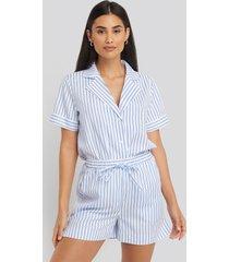 na-kd lingerie poplin cotton night shorts - multicolor