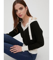 motivi maglia bicolor con dettaglio off-shoulder donna nero