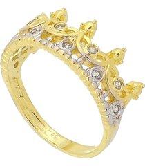 anel coroa com detalhes em  rã³dio e zircã´nias 3rs semijoias dourado - dourado - feminino - dafiti