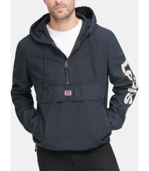 levi's men's garment-dyed 1/2-zip hooded twill jacket