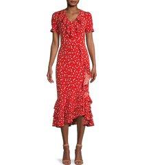 karl lagerfeld paris women's floral ruffle midi dress - tomato - size 2