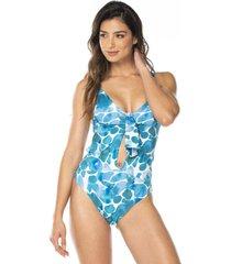 vestido de baño enterizos estampado marine – corpo swimwear-azul