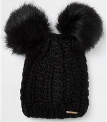 river island womens black cable knit double pom pom beanie hat