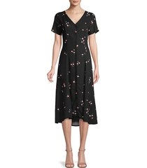 saks fifth avenue women's floral button-up flare dress - navy multi - size 2
