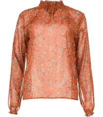 transparante blouse nova  bruin