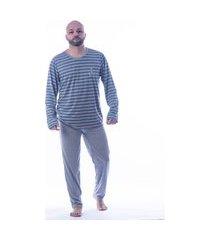 pijama inverno manga longa masculino listra danka 8681