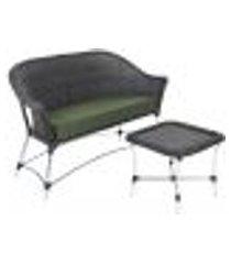 sofá roma e 1 mesa de área varanda jardim edícula preto estonado a30