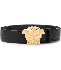 versace palazzo medusa head buckle belt - black