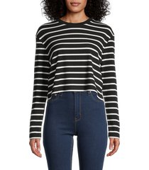 french connection women's tommy striped crop top - black white - size xs