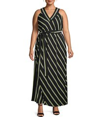 plus jacey striped halter maxi dress