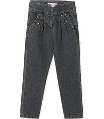 alberta ferretti grey cotton studded jeans