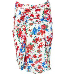 multicolored floral gathered skirt
