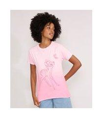camiseta bambi degradê manga curta decote redondo rosa