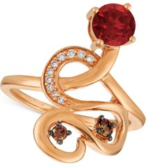 le vian chocolatier raspberry rhodolite (9/10 ct. t.w.) and diamond (1/6 ct. t.w.) ring in 14k rose gold