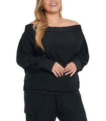 plus size women's coldesina stevey off the shoulder knit top, size 1x - black