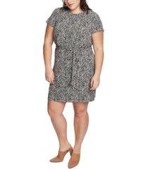 1.state trendy plus size printed tie-waist dress
