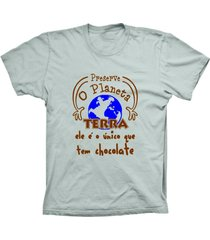 camiseta baby look lu geek terra chocolate prata