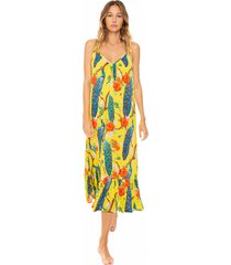 peacock print gown with shoulder straps