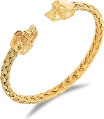 eye candy la women's luxe 18k goldplated titanium skull cuff bracelet