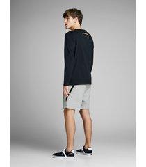 jack & jones korte broek 12151564 short light grey melange - grijs