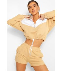 colour block zip sweat & shorts set, stone