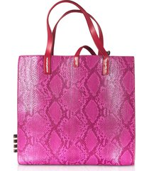 manila grace python embossed tote bag