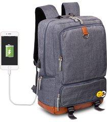 mochila de tejido oxford impermeable para viaje e-hot - gris oscuro