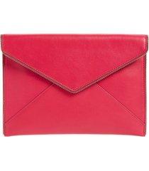rebecca minkoff leo leather envelope clutch - pink