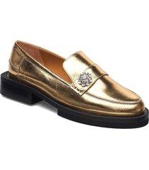 metallic leather loafers låga skor guld ganni