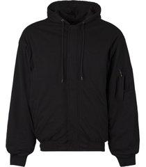 padded bomber hoodie black