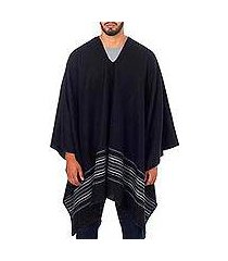 men's alpaca blend poncho, 'black nazca' (peru)