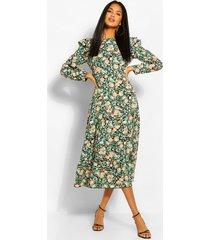 gesmokte bloemenprint jurk met franjes, koraal
