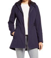women's via spiga half-belt hooded soft-shell jacket, size x-large - blue