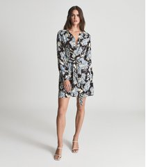 reiss abbie - floral printed mini dress in blue, womens, size 14