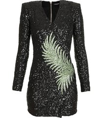 embroidered palm leaf sequin dress